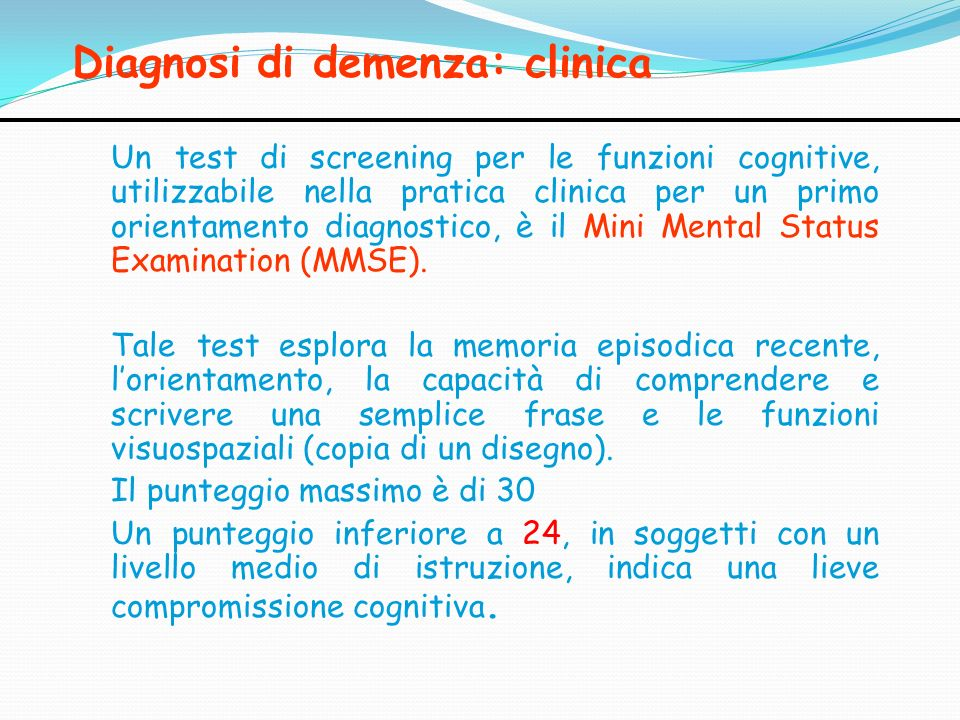 Diagnosi di demenza: clinica
