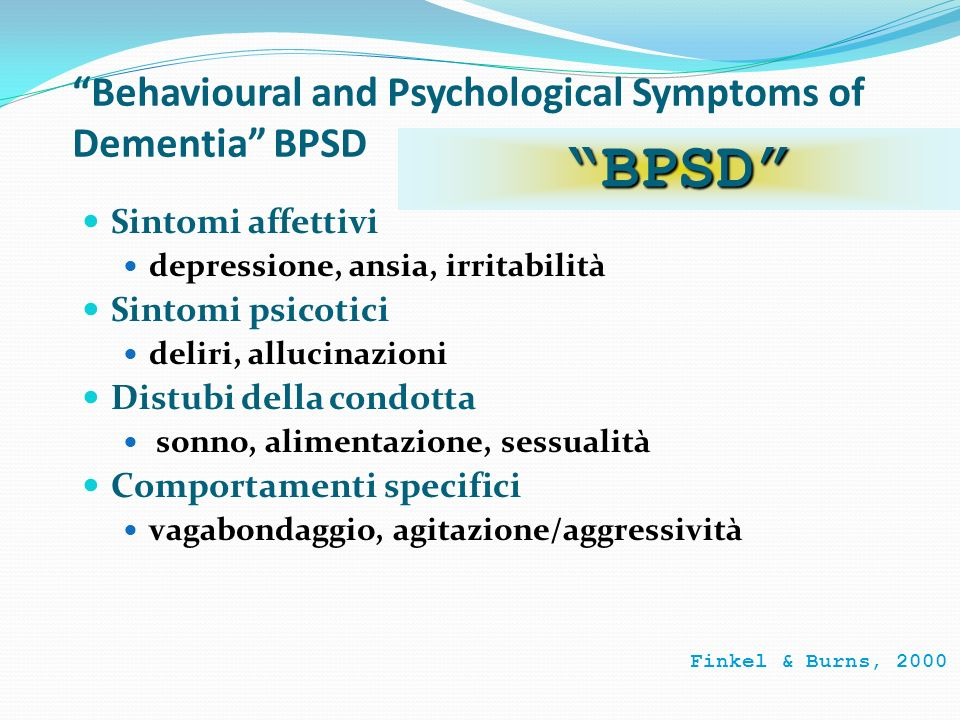 Behavioural and Psychological Symptoms of Dementia BPSD
