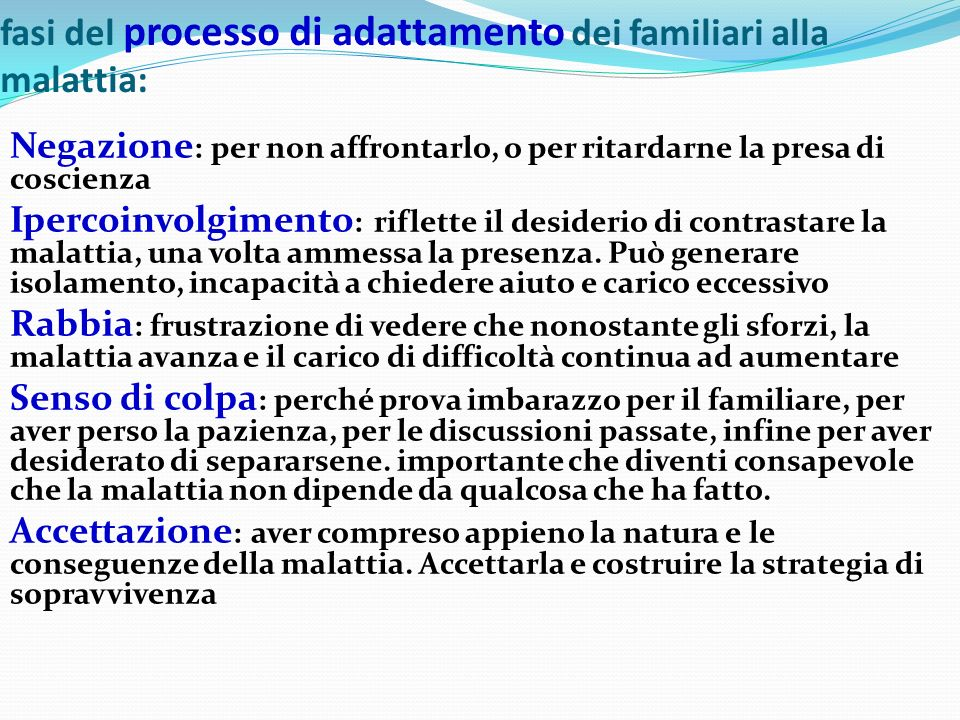fasi del processo di adattamento dei familiari alla malattia:
