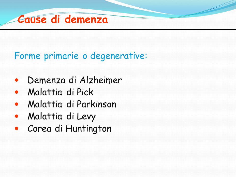 Cause di demenza Forme primarie o degenerative: Demenza di Alzheimer