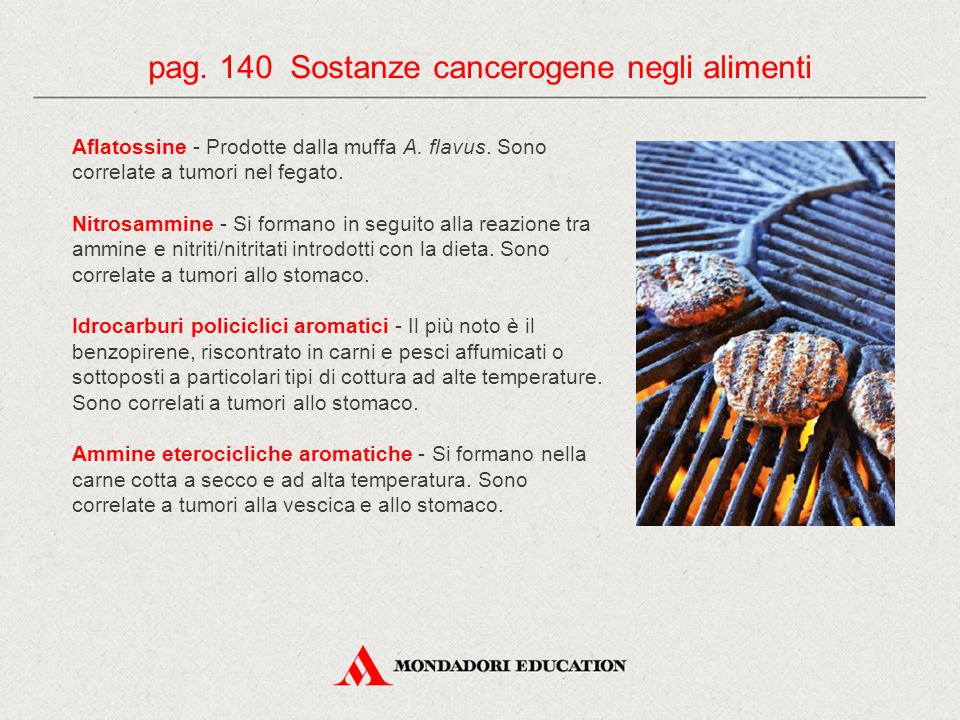 pag. 140 Sostanze cancerogene negli alimenti
