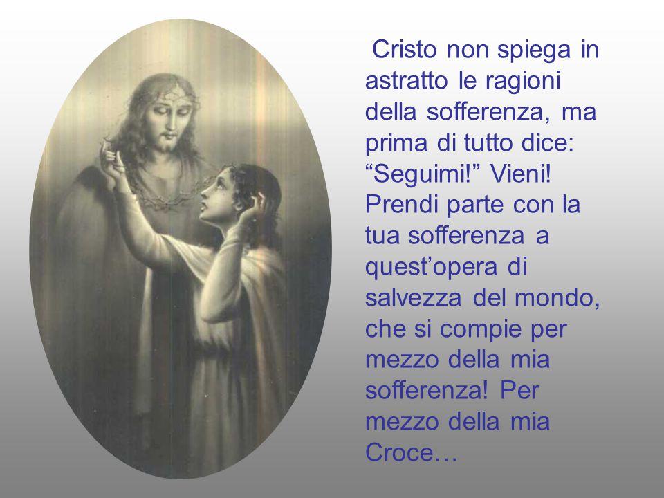 Cristo non spiega in astratto le ragioni della sofferenza, ma prima di tutto dice: Seguimi! Vieni.