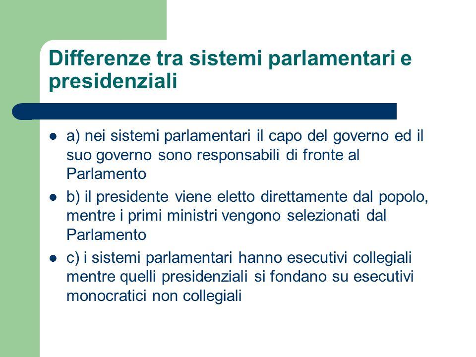 Differenze tra sistemi parlamentari e presidenziali