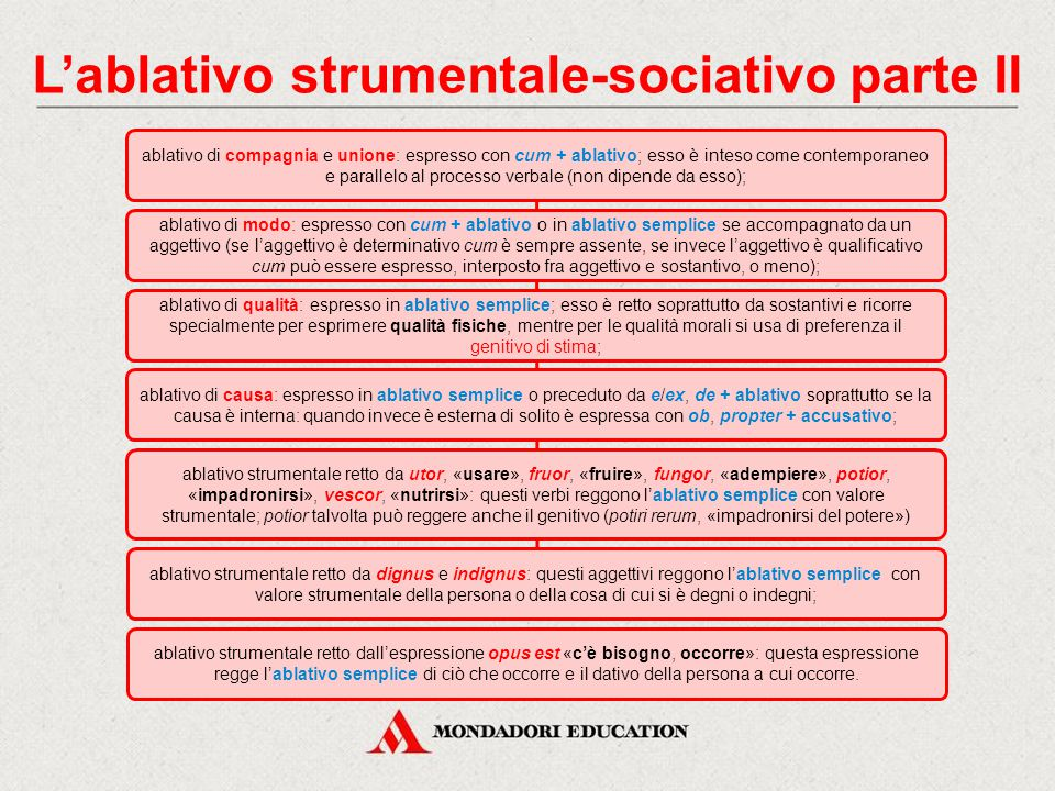 L'ablativo strumentale-sociativo parte II