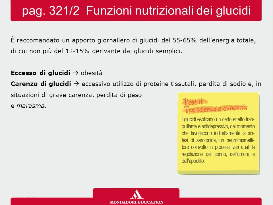 pag. 321/2 Funzioni nutrizionali dei glucidi