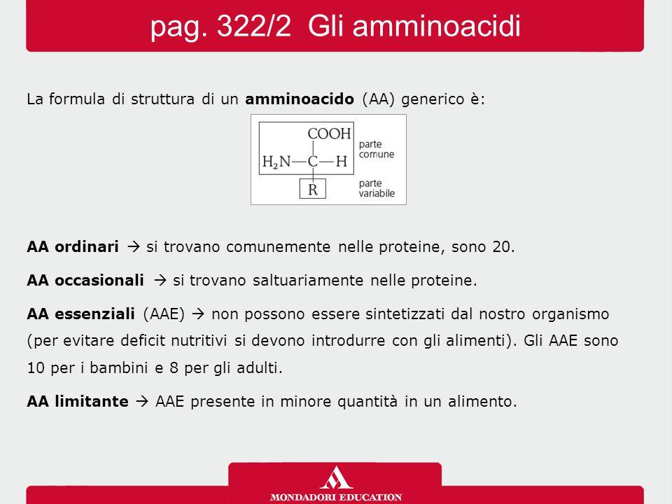 pag. 322/2 Gli amminoacidi La formula di struttura di un amminoacido (AA) generico è: AA ordinari  si trovano comunemente nelle proteine, sono 20.