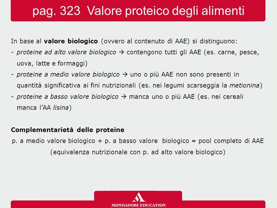 pag. 323 Valore proteico degli alimenti