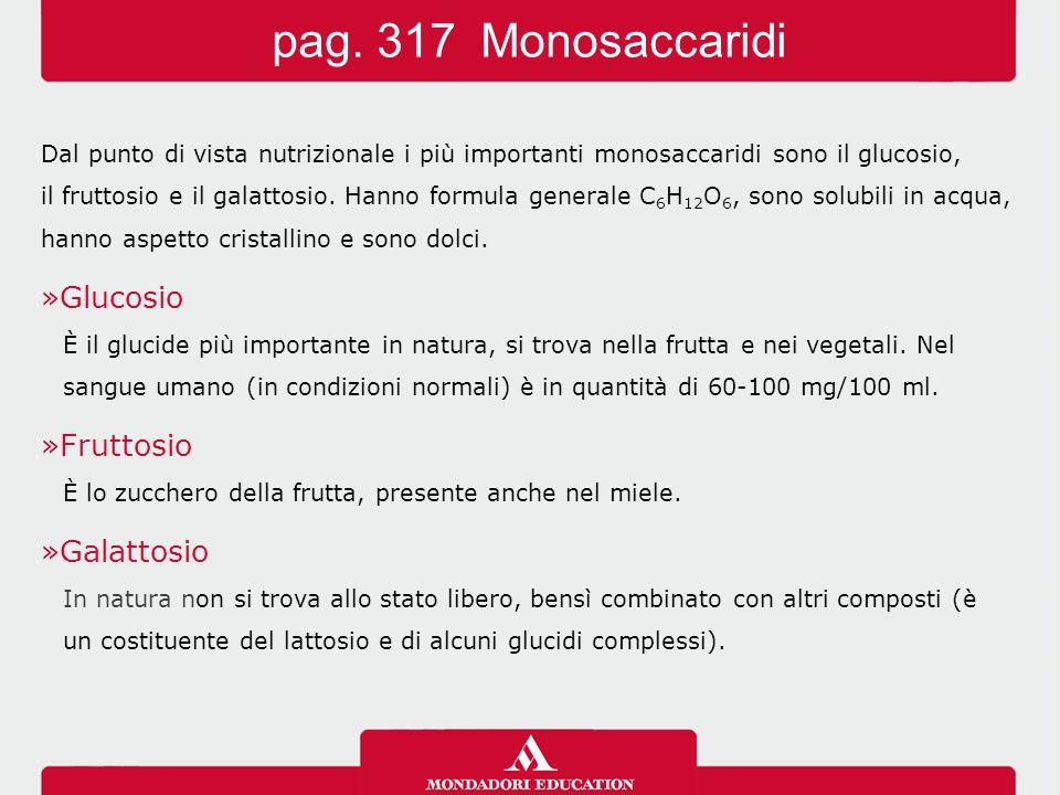 pag. 317 Monosaccaridi Glucosio Fruttosio Galattosio