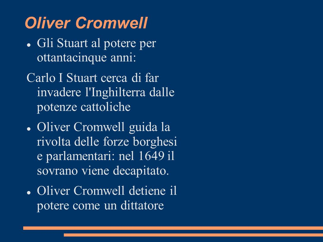 Oliver Cromwell Gli Stuart al potere per ottantacinque anni: