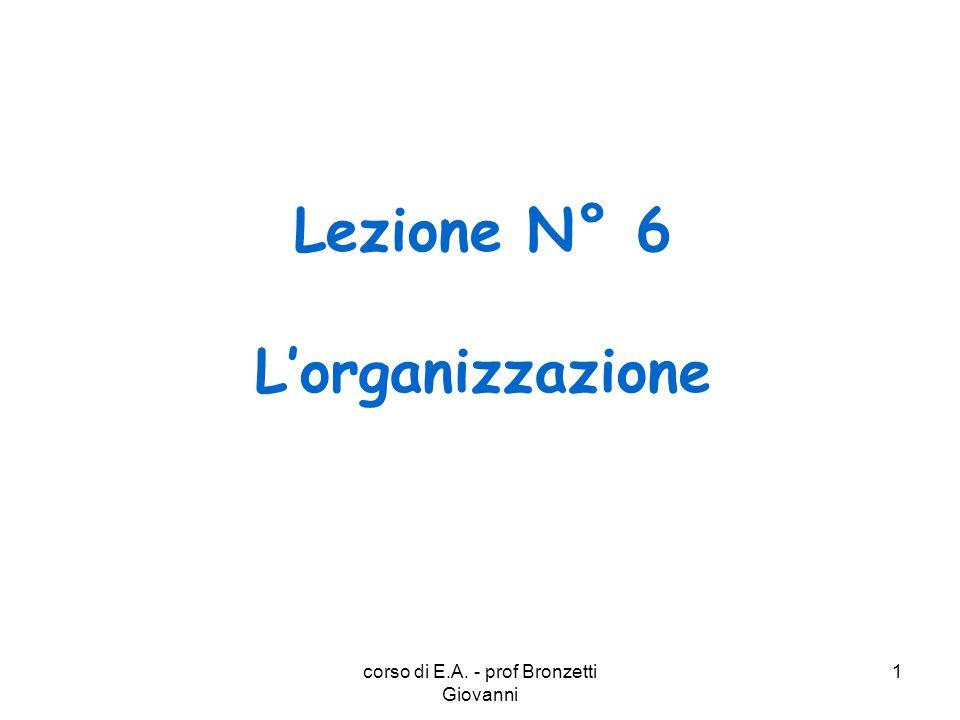 Lezione N° 6 L'organizzazione