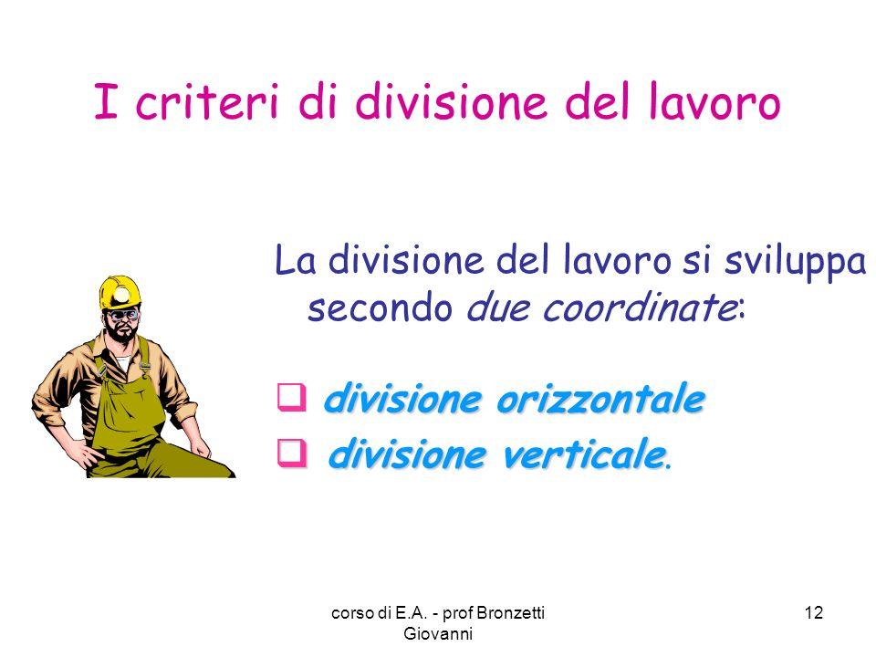 I criteri di divisione del lavoro