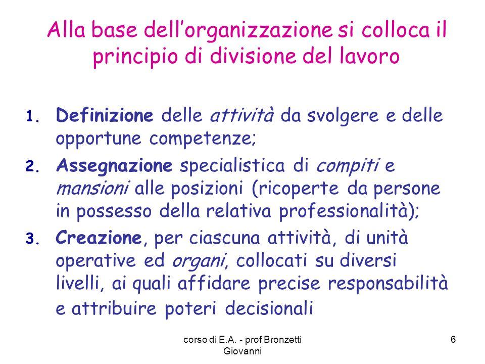 corso di E.A. - prof Bronzetti Giovanni