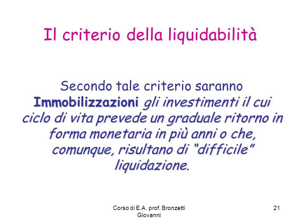 Il criterio della liquidabilità