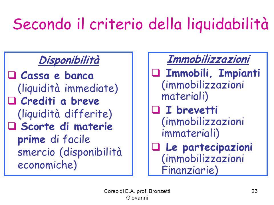 Secondo il criterio della liquidabilità