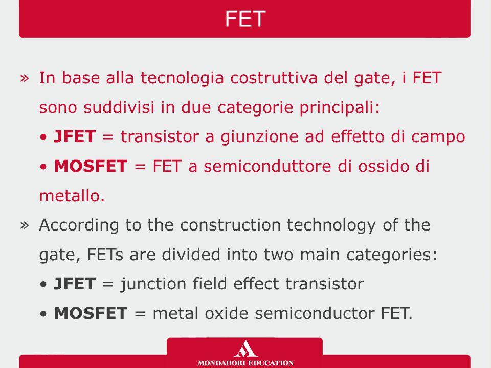 FET In base alla tecnologia costruttiva del gate, i FET sono suddivisi in due categorie principali: