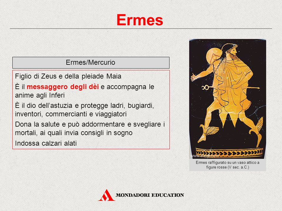 Ermes raffigurato su un vaso attico a figure rosse (V sec. a.C.)