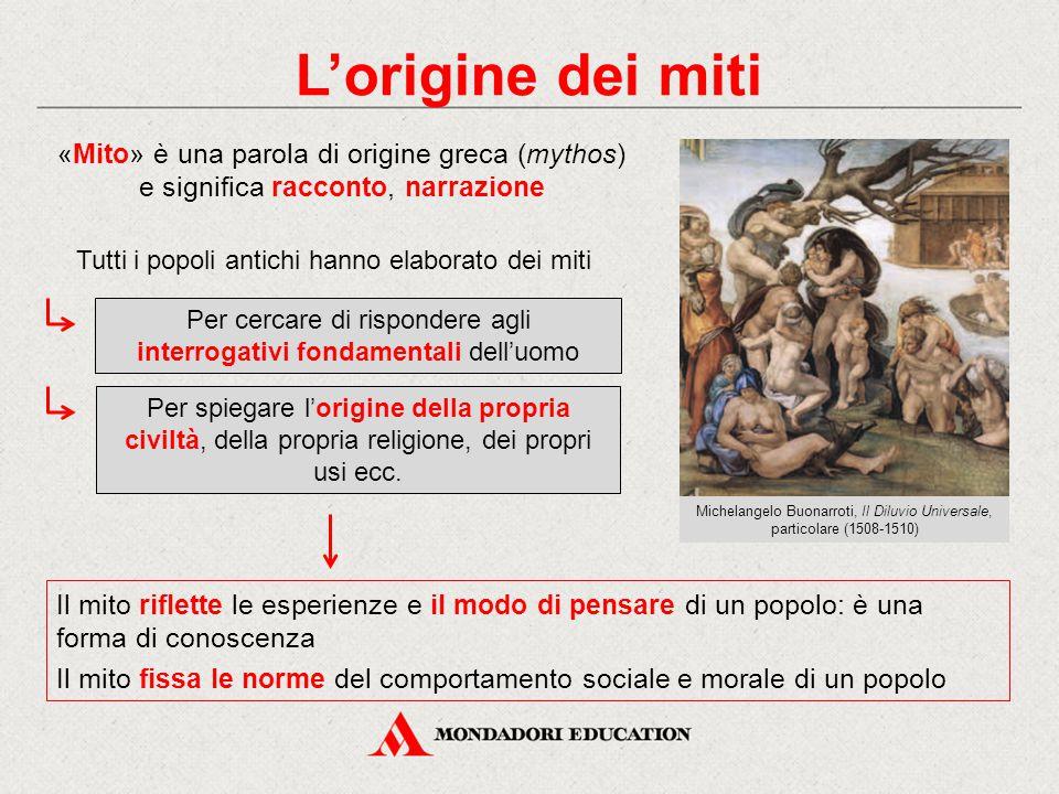 L'origine dei miti «Mito» è una parola di origine greca (mythos) e significa racconto, narrazione. Tutti i popoli antichi hanno elaborato dei miti.