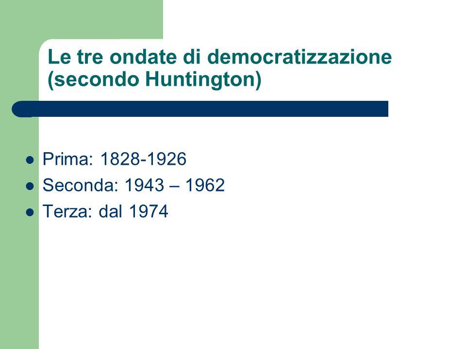 Le tre ondate di democratizzazione (secondo Huntington)