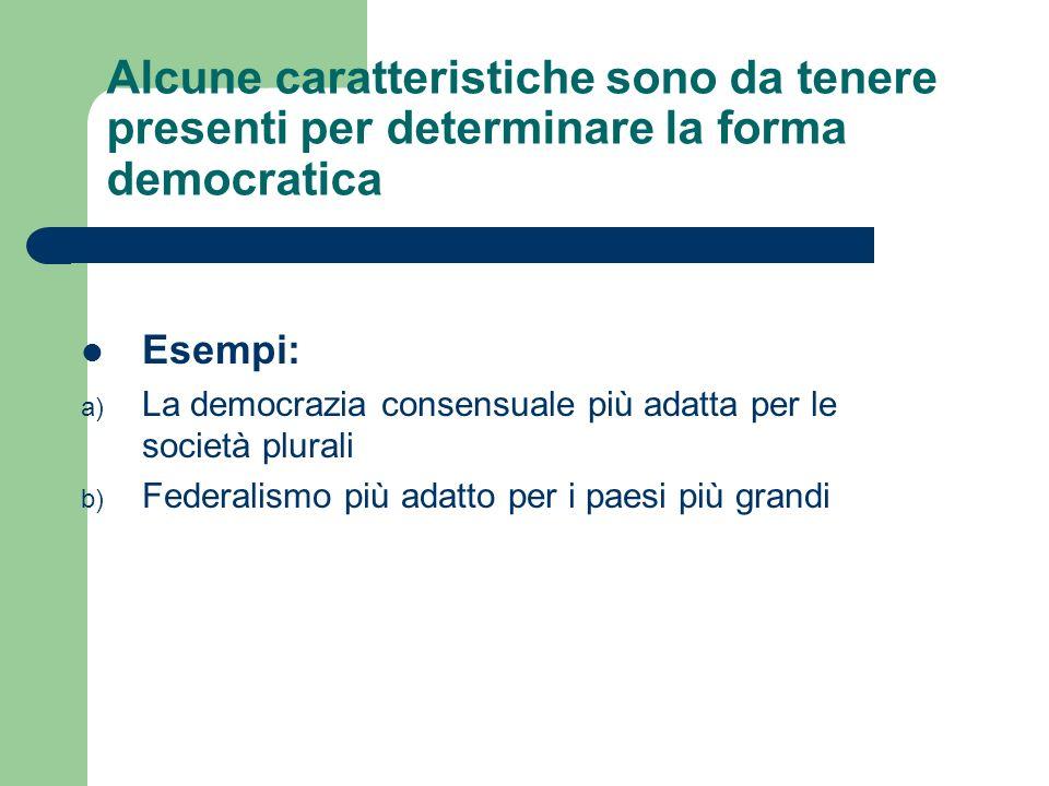 Alcune caratteristiche sono da tenere presenti per determinare la forma democratica