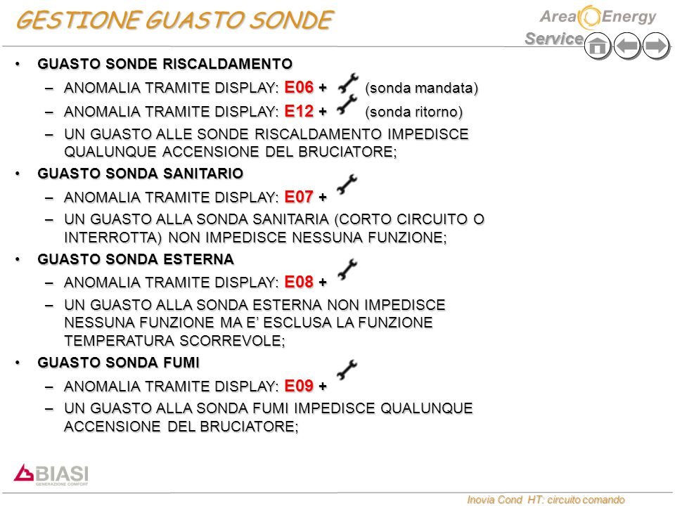 GESTIONE GUASTO SONDE GUASTO SONDE RISCALDAMENTO