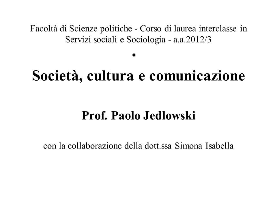 Società, cultura e comunicazione