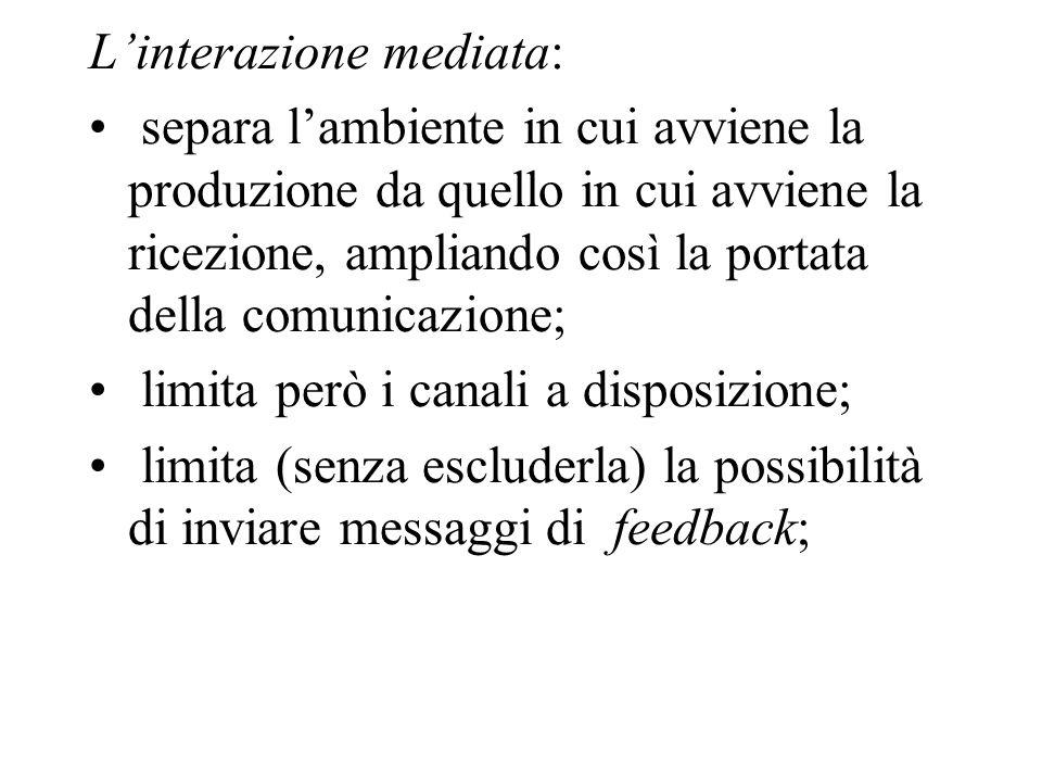 L'interazione mediata:
