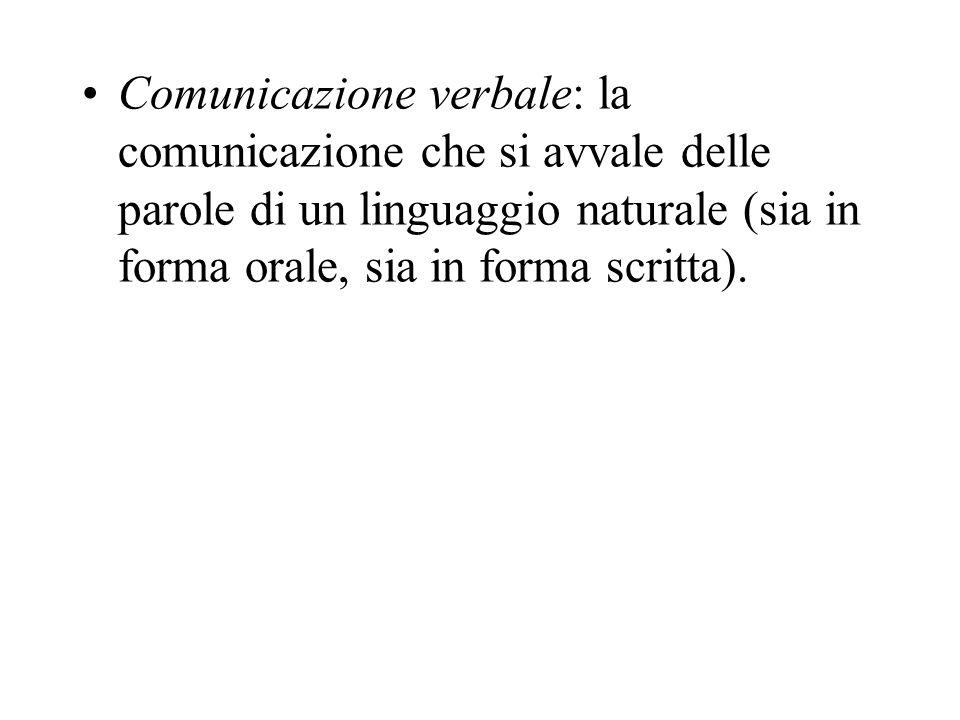 Comunicazione verbale: la comunicazione che si avvale delle parole di un linguaggio naturale (sia in forma orale, sia in forma scritta).