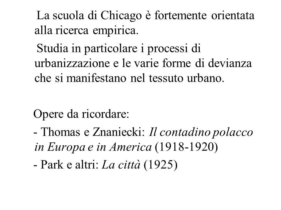 La scuola di Chicago è fortemente orientata alla ricerca empirica.