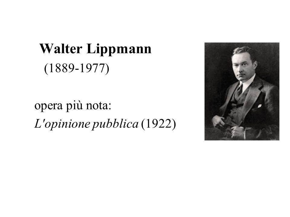 Walter Lippmann (1889-1977) opera più nota: L opinione pubblica (1922)