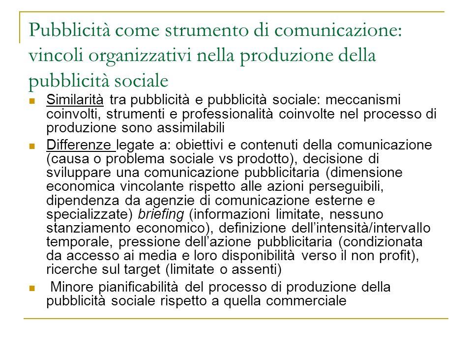 Pubblicità come strumento di comunicazione: vincoli organizzativi nella produzione della pubblicità sociale