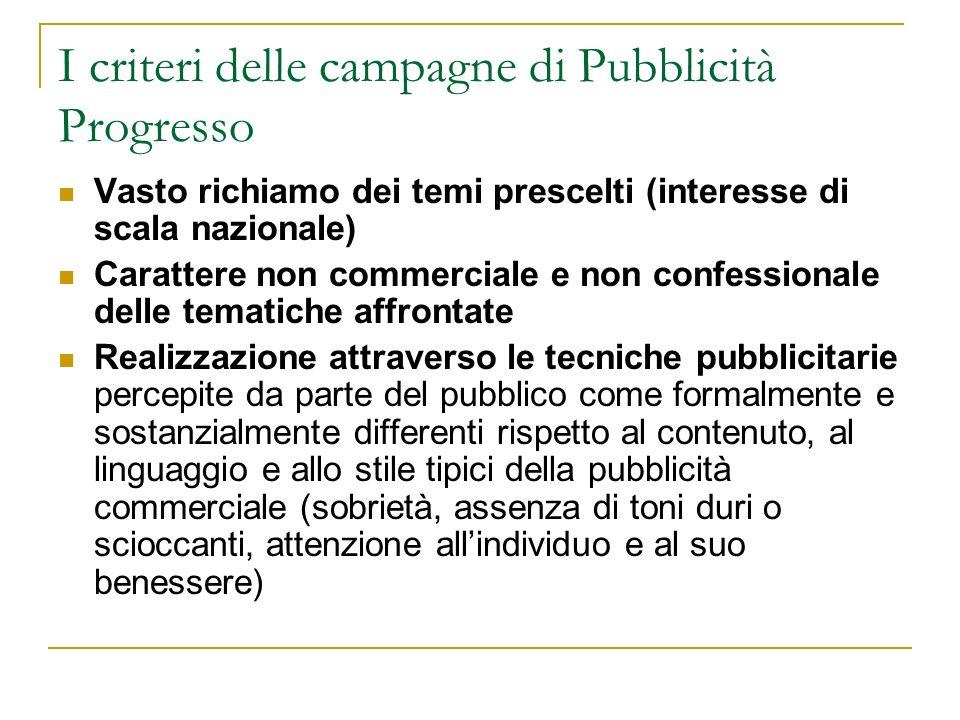 I criteri delle campagne di Pubblicità Progresso