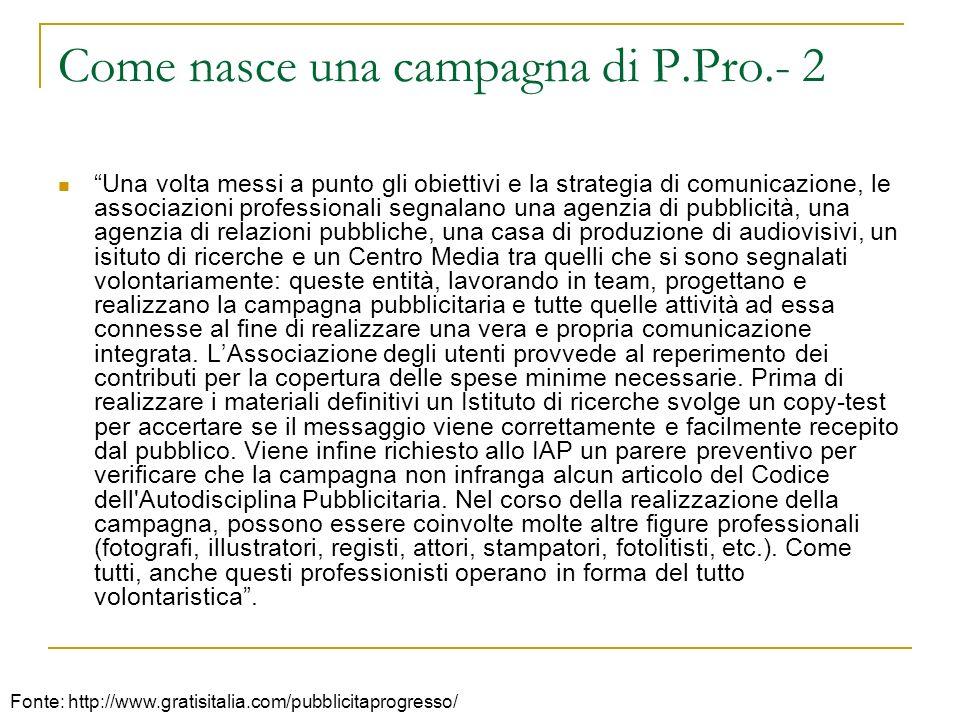Come nasce una campagna di P.Pro.- 2