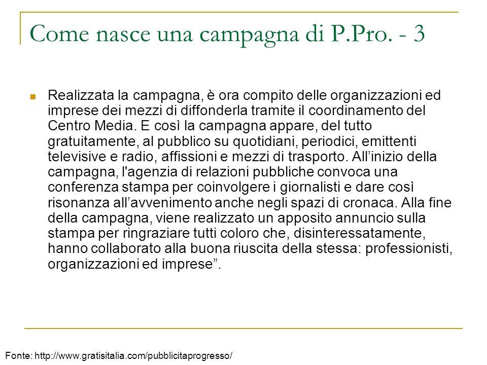 Come nasce una campagna di P.Pro. - 3