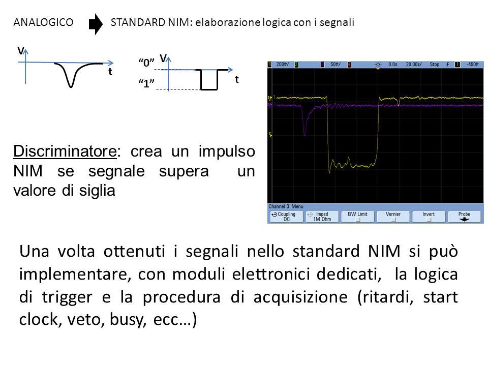 V t. ANALOGICO. STANDARD NIM: elaborazione logica con i segnali. 0 1