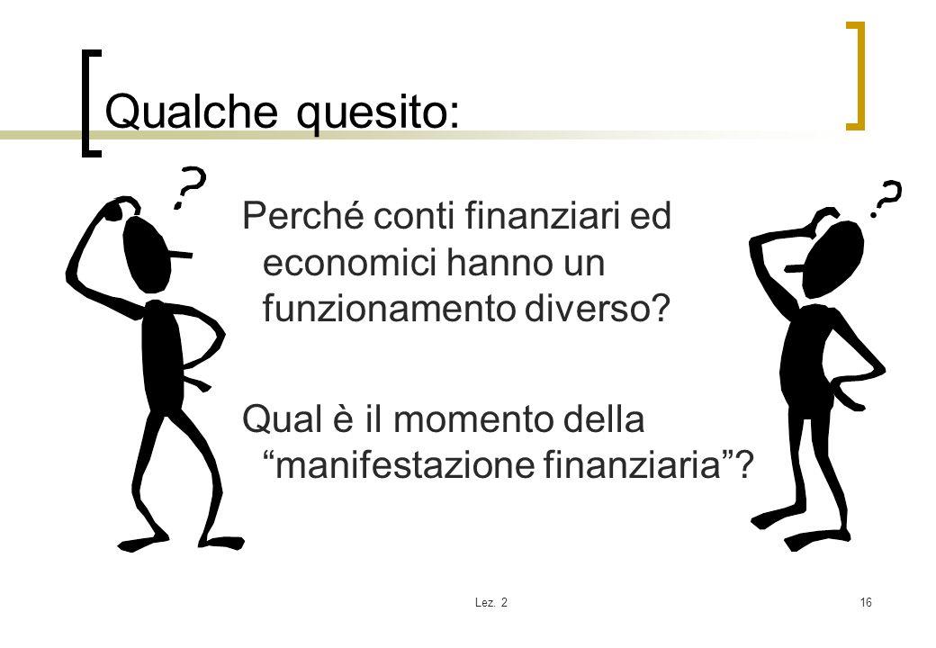 Qualche quesito: Perché conti finanziari ed economici hanno un funzionamento diverso Qual è il momento della manifestazione finanziaria