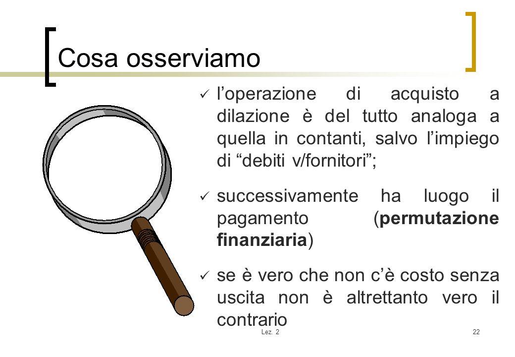 Cosa osserviamo l'operazione di acquisto a dilazione è del tutto analoga a quella in contanti, salvo l'impiego di debiti v/fornitori ;