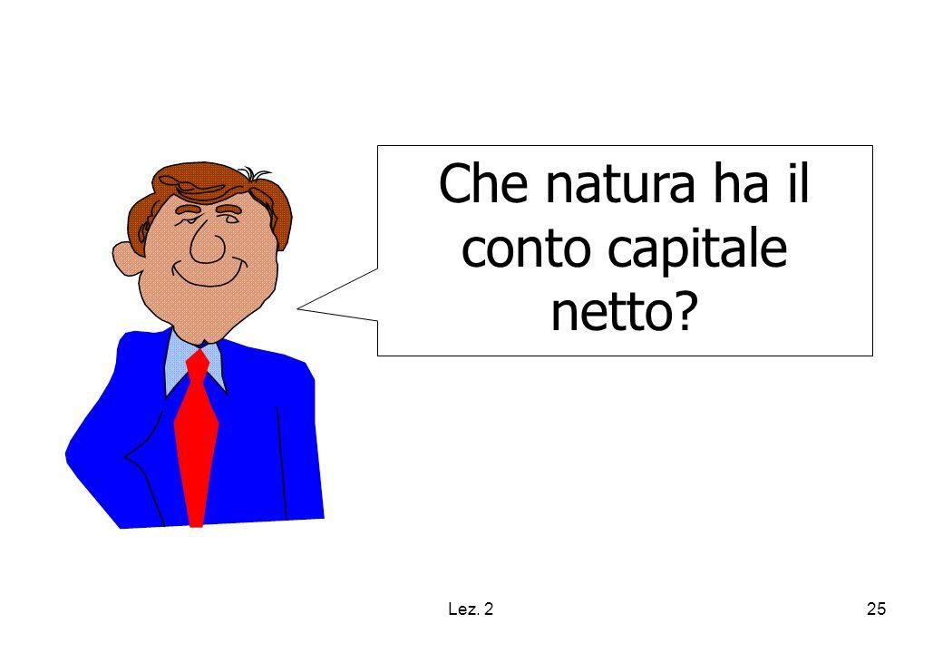 Che natura ha il conto capitale netto
