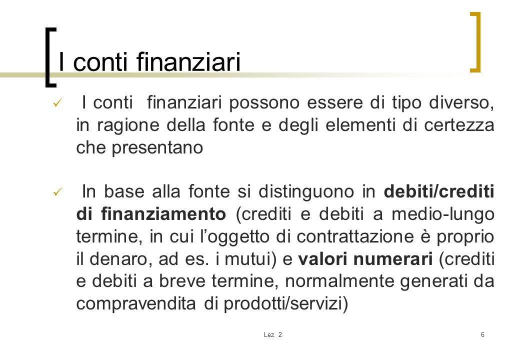 I conti finanziari I conti finanziari possono essere di tipo diverso, in ragione della fonte e degli elementi di certezza che presentano.