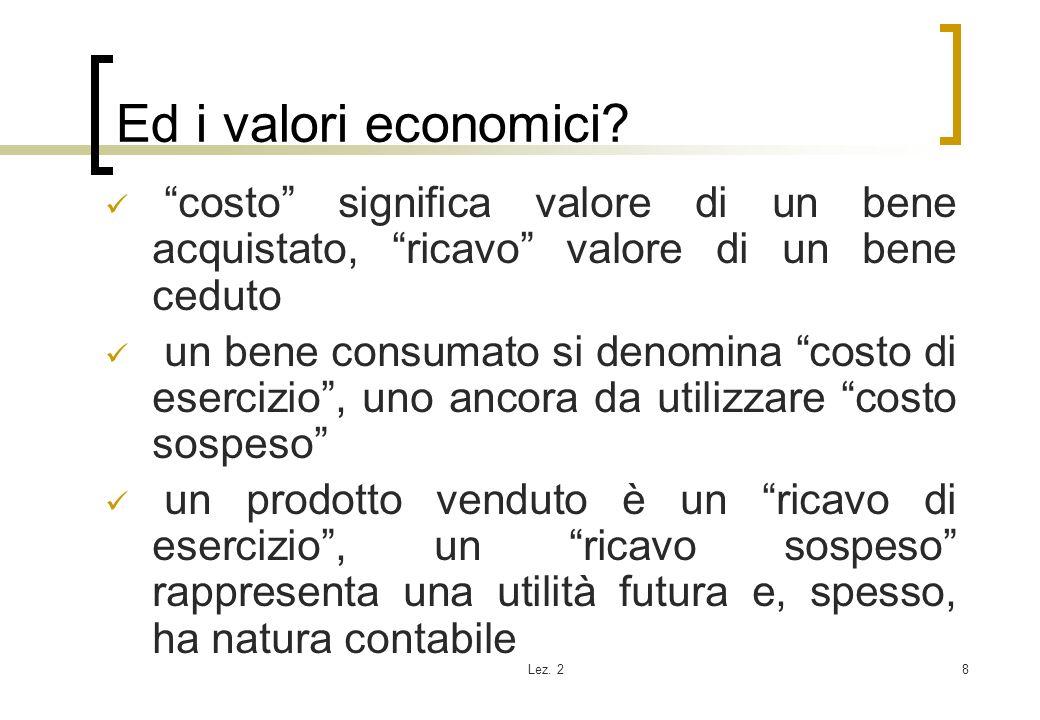 Ed i valori economici costo significa valore di un bene acquistato, ricavo valore di un bene ceduto.