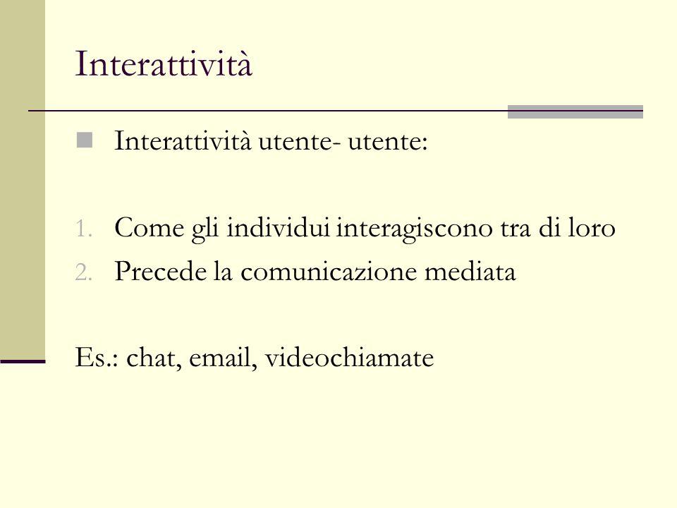 Interattività Interattività utente- utente: