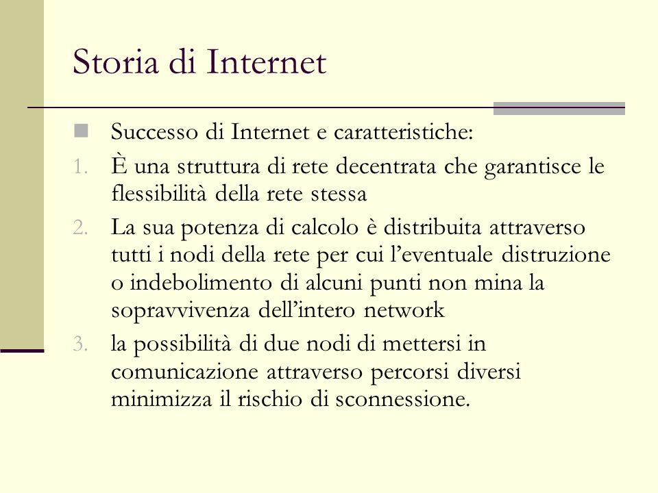 Storia di Internet Successo di Internet e caratteristiche: