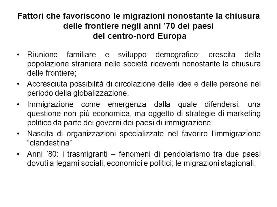 Fattori che favoriscono le migrazioni nonostante la chiusura delle frontiere negli anni '70 dei paesi del centro-nord Europa