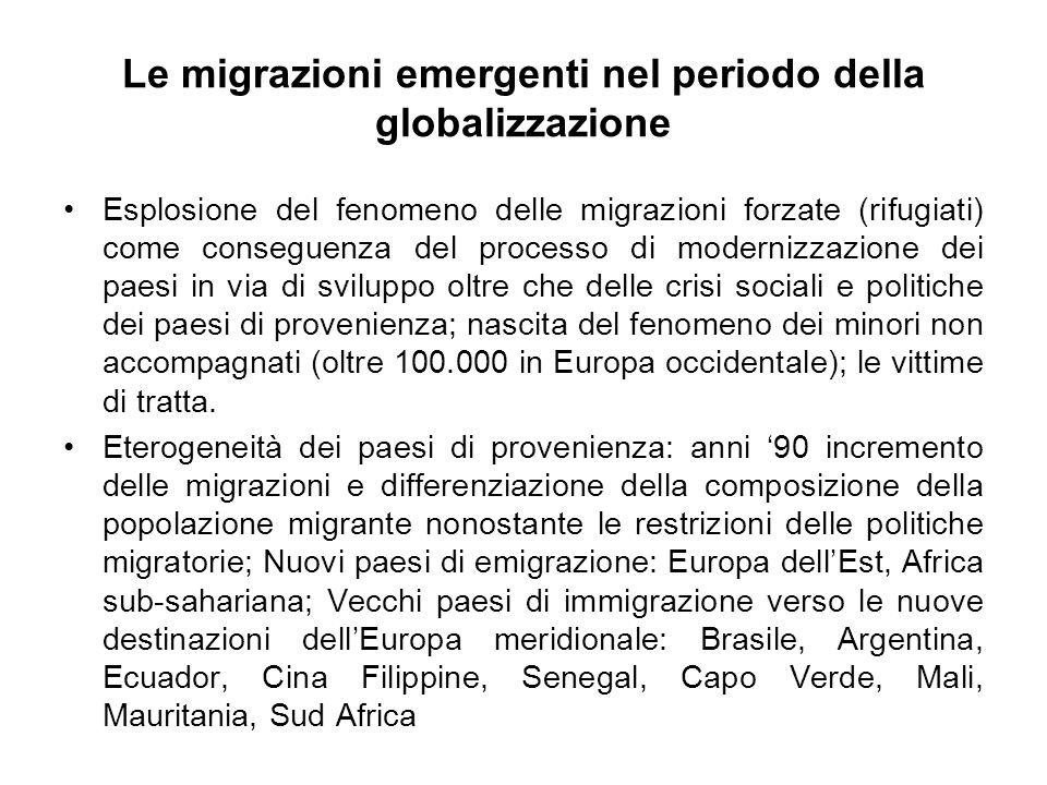 Le migrazioni emergenti nel periodo della globalizzazione
