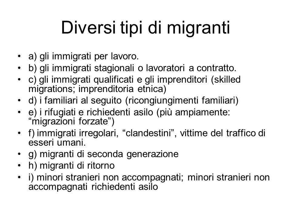 Diversi tipi di migranti
