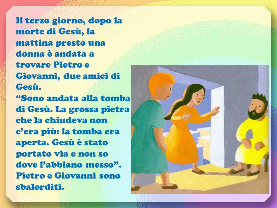 Il terzo giorno, dopo la morte di Gesù, la mattina presto una donna è andata a trovare Pietro e Giovanni, due amici di Gesù.