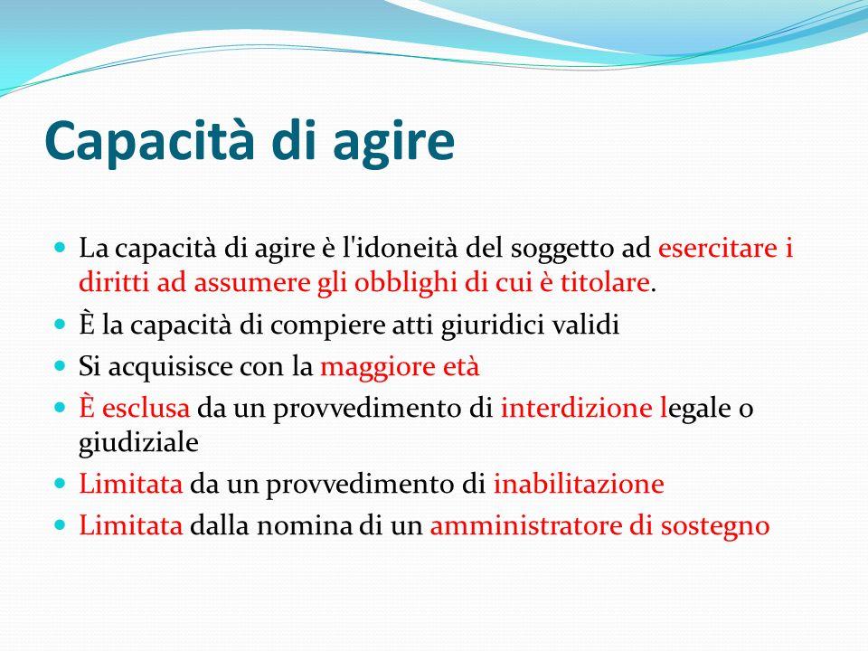 Capacità di agire La capacità di agire è l idoneità del soggetto ad esercitare i diritti ad assumere gli obblighi di cui è titolare.