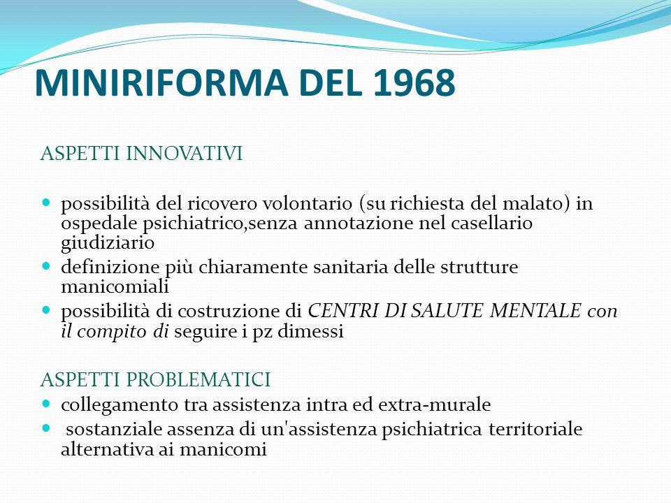 MINIRIFORMA DEL 1968 ASPETTI INNOVATIVI