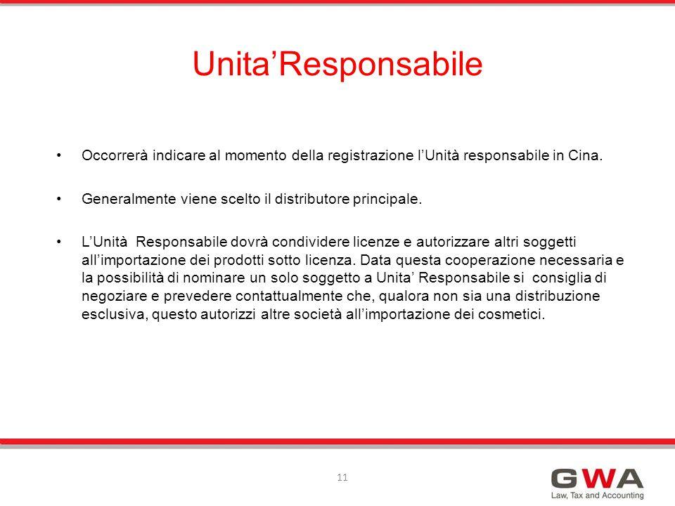 Unita'Responsabile Occorrerà indicare al momento della registrazione l'Unità responsabile in Cina.