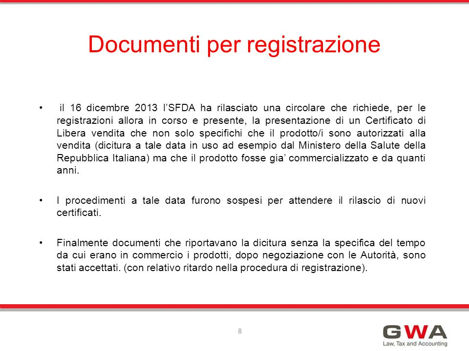 Documenti per registrazione