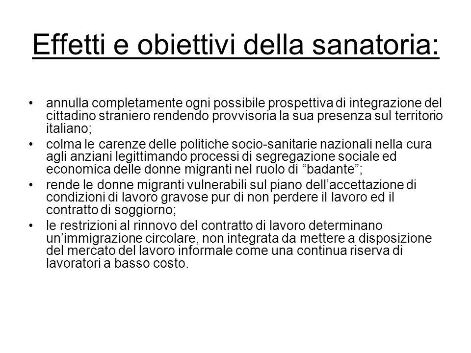 Effetti e obiettivi della sanatoria:
